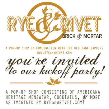 rye and rivet kick off party flyer